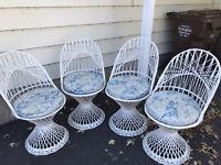 4 Vintage Mid Century Russel Woodard Spun Fiberglass Patio Chairs
