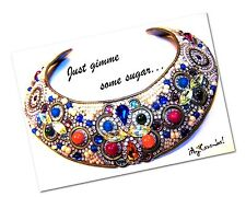 MJ Hansen Signed Original 90's Crystal Rhinestone Cleopatra Collar Necklace Rare