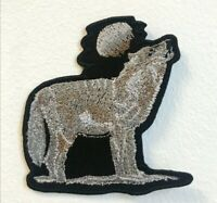 Wolf with Full Moon Cute Animal Embroidered Iron on Sew on Patch j1762