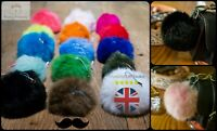 8cm Soft Fluffy Real Rabbit Fur Ball Pendant Bag Charm Pompom Key Chain Phone 1D