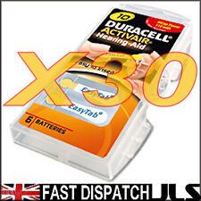 30 Duracell 10 DA10 n6 A10 YELLOW Hearing Aid Batteries