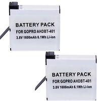 TWO Batteries AHDBT401 for GoPro HERO 4, CHDHY401, CHDHX401, CHDBX401, CHDBY401,