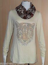 Shirt mit Loopschal im Leo-Design   Pfeffinger ecru  Gr. 38