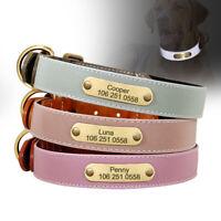 Luxury Leather Personalised Dog Pet Collars Neoprene Padded Safety Reflective