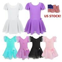 US Toddler Girls Ballet Leotard Dress Gymnastics Dancewear Tutu Skirt Costume