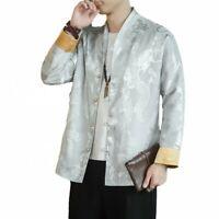 Chinesische Herren Drachenmuster Tang Anzug Jacke Einreihiger Frühlingsmantel L