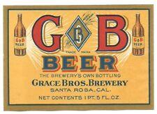 Gb beer bottle label, Grace Bros., Santa Rosa, California, prepro, pre- Irtp