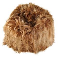 Eco Lambskin Beanbag Chair Gold Brown Long Wool Bean Bag