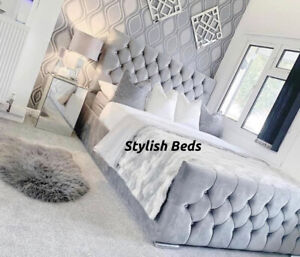 Plush Velvet Chesterfield Monaco Bed Frame Available In All Sizes and Colors