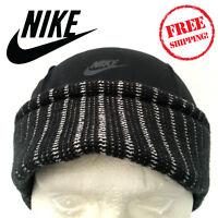 Nike Air TN Mens Urban Short Peak Stretch Fit Beanie Hat Black Winter Sports Cap