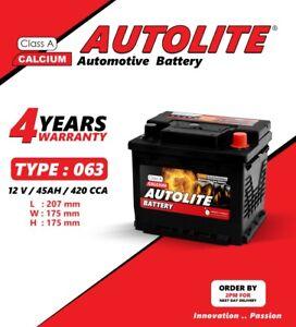 12 Volts 063 45 Ah heavy duty Car Battery with 4 years warranty