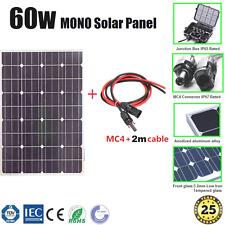 60W MONO SOLAR PANEL HOME GENERATOR CARAVAN 12V BATTERY CHARGING +MC4 2m CABLE