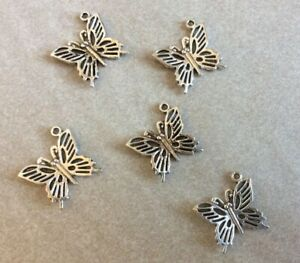 Antique Silver Charms, Butterflies, 20mm across, 5pcs, Jewellery Making, Crafts