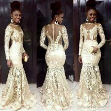 South African Evening Dresses Lace Long Sleeve Mermaid Plus Size Party Gowns