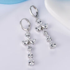 Brilliant Women White Swarovski Beaded Crystal Dangle Earrings Jewellery 1.8""
