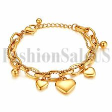Stainless Steel Women's Ladies Gold Tone Heart Dangle Chain Bracelet Bangle Gift