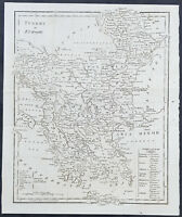 1795 Aaron Arrowsmith Original Antique Map Turkey in Europe - Greece to Moldavia