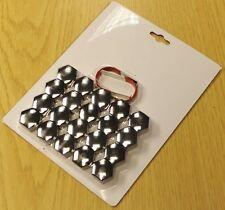 SKODA FABIA OCTAVIA SUPERB SMOKE CHROME WHEEL NUT BOLT COVERS CAPS 17mm x 20