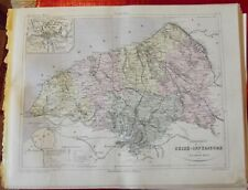 Old Map 1900 France Département Seine inférieure Rouen Pavilly Fécamp Dieppe