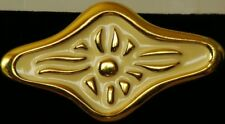 1981 Vintage NEW Brooch PIN  signed GIVENCHY© $50 on ORIG Card CREAM & GOLDTONE