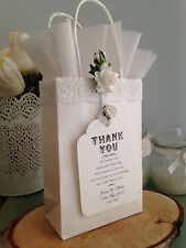 Personalised Wedding Favour White Gift Bag & White Tissue, Roses Lace & Tag