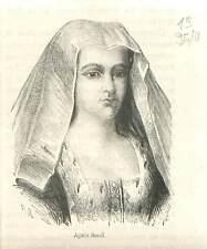 Agnès Sorel demoiselle d'honneur d'Isabelle Iʳᵉ de Lorraine GRAVURE 1883