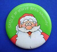 Hallmark BUTTON PIN Christmas Vintage SANTA SMILE NAUGHTY Holiday PINBACK RARE