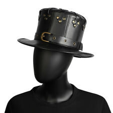 Men Women PU Leather Top Hat Punk Gothic Steampunk Black Retro Rivet New Party