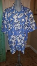 BILLABONG, MEN'S BLUE AND WHITE FLORAL, BUTTON DOWN SHIRT, SIZE LARGE