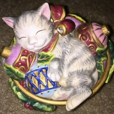 Fitz And Floyd Kristmas Kitty Lidded Box - Christmas Kitten Cat Candy Dish Bowl