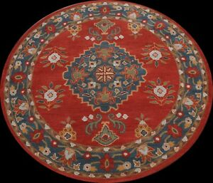 Floral Traditional Oriental Area Rug Wool Hand-Tufted Round Red Carpet 6x6 ft