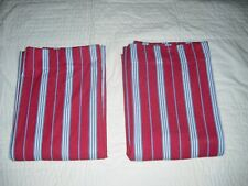Pottery Barn Kids 2 Red White Blue Striped Curtain Curtains Panels 44 x 63 Lined