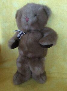 Russ Berrie Brown Carnaby W/Plaid Bow & Brown Pads Plush Stuffed Animal