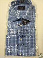 "BNWT SAVOY TAYLORS GUILD SIZE 16"" COLLAR (42"" CHEST) BLUE SQUARE MENS SHIRT 4J"