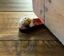 Mehndi Red Doorstop With Wooden Knob Door Stop Wedge Home Decor Ornament Weight