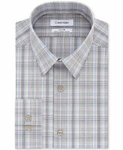Calvin Klein Mens Dress Shirt Blue Gray Size 15 Slim Fit Plaid Stretch $79 326