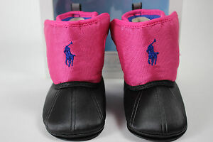 NIB RALPH LAUREN Size 2 (3-6 Months) Girl's Pony Fuchsia Black ALBIRTA EZ Boot