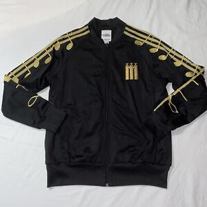 Adidas Jeremy Scott ObyO Music Note Musical Black Track Top Jacket Size Large