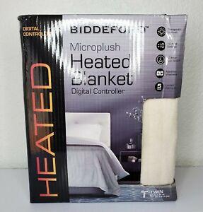 "Biddeford Microplush Heated Blanket Digital Controller Twin 62"" X 84"" (White)"