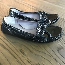 """VINCE CAMUTO Sz 6 """"Paula""""  Black Patent Leather Driving Loafers Shoes. Nice!"""