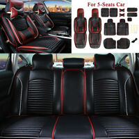 Universal Black Leather Car 5 Seat Cover Full Surround Breathable Cushion+Pillow