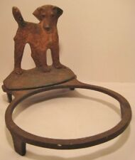 Old Antique Rare Cast Iron Terrier Dog Bowl Holder for Pet