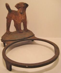 Old Antique RARE Cast Iron Terrier Dog Bowl Holder for Pet