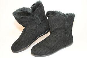 Vionic Kari Womens 5 36 Black Knit Fabric Slippers Booties Plush Comfort Boots