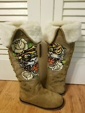 Ed Hardy Gray Suede Leather Boots Tiger Painted Print slide on zip up Size 9