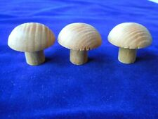 3 Wood Miniature Mushrooms unfinished 1.5 inches tall
