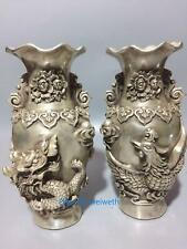 Collection old Tibet silver Vase Handwork carved dragon&Phoenix w Qianlong Mark