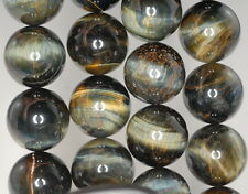 20MM BLUE TIGER EYE GEMSTONE HAWK EYE GRADE A ROUND LOOSE BEADS 8""