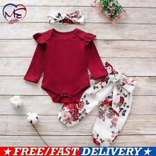Newborn Toddler Baby Girl 3Pcs Bodysuit Pants Headband Set Outfits Clothes Suit