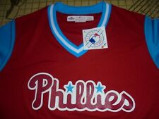 WOMENS XLARGE RED/BLUE MAJESTIC/MLB STITCHED PHILLIES ATHLETIC SHIRT - NWT